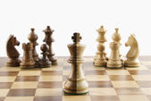 Chess pieces on a chessboard — Stock Photo