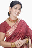 Woman wearing a sari — Stock Photo