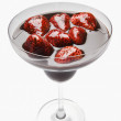 Stock Photo: Strawberries dipped in chocolate syrup