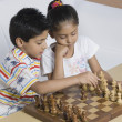 Boy and a girl playing chess — Stock Photo #32968191