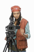 Videographer video graphing — Stock Photo