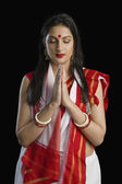 Woman in Bengali sari in prayer position — Stock Photo