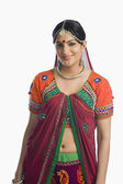Woman smiling in lehenga choli — Stock Photo