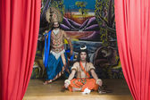Artists dressed-up as Rama and Ravana the Hindu — Stock Photo