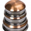 Close-up of a stack of stainless steel cooking pots — Stock Photo