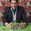 Stock Photo: Mcollecting won gambling chips