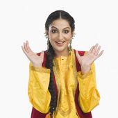 Woman in yellow Punjabi dress — Stock Photo