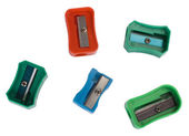 Close-up of assorted colorful pencil sharpeners — Stock Photo
