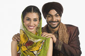 Sikh couple smiling — Stock Photo