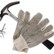 Stock Photo: Pair of work glove with claw hammer and nails