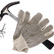 Pair of work glove with claw hammer and nails — Stock Photo