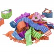 Close-up of tangled and rolled paper ribbon — Stock Photo