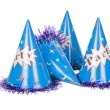 Close-up of four party hats — Zdjęcie stockowe