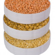 High angle view of three containers full of beans — Stock Photo #32986621