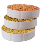 High angle view of three containers full of beans — Stock Photo
