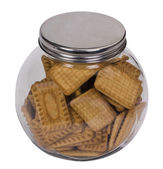 Close-up of a jar full of biscuits — Stock Photo