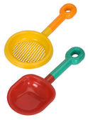 Close-up of a shovel and a sieve — Stock Photo