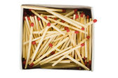 Close-up of an open matchbox with matchsticks — Stock Photo