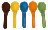 Close-up of ceramic soup spoons — Stock Photo