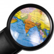 India on globe viewed through a magnifying glass — Stock Photo