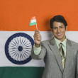 Man holding Indian flag — Stock Photo