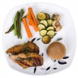 Chicken breast with bread and vegetables on a plate — Stock Photo