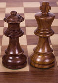 Close-up of a king and a queen chess pieces — Stock Photo