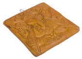 Lord Ganesha engraved on a wooden block — Foto Stock
