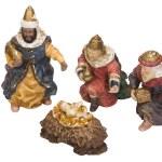 Figurines of kings near baby Jesus — Stock Photo #33001189