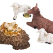 Stock Photo: Figurines of animals near baby Jesus