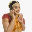 Stock Photo: Indian woman talking on a mobile phone