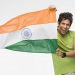 Man holding Indian flag — Stock Photo #33003455