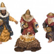 Figurines of kings near baby Jesus — Stock Photo