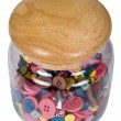 Buttons in a glass jar — Stock Photo