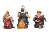 Figurines of kings near baby Jesus — Stok fotoğraf