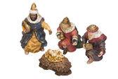 Figurines of kings near baby Jesus — Stock Photo