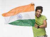 Man bedrijf indiase vlag — Stockfoto