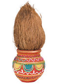 Close-up of a kalash with a coconut — Stock Photo