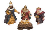Figurines of kings near baby Jesus — Foto de Stock