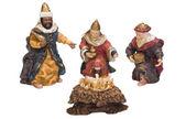 Figurines of kings near baby Jesus — Stock fotografie