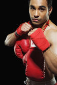 Male boxer in fighting stance — Stockfoto