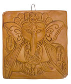 Lord Ganesha engraved on a wooden block — Stock Photo