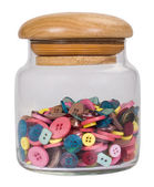 Close-up of a jar of buttons — Stock Photo