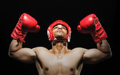 Male boxer with arms over his head — Stock Photo