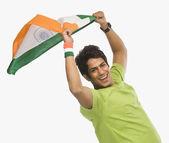 Man holding Indian flag — Stock Photo
