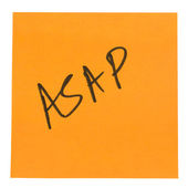 Word ASAP written on an adhesive note — Stock Photo