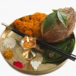 Religious offerings in a thali — Stock Photo