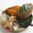 Stock Photo: Religious offerings in a thali