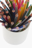 Colored pencils in a desk organizer — Stock Photo