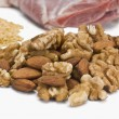 Dry fruits with pulses and meat — Stock Photo